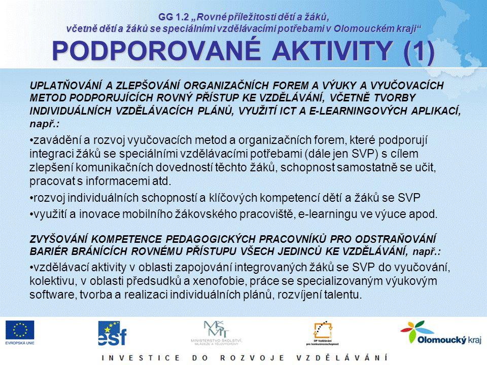 """GG 1.2 """"Rovné příležitosti dětí a žáků, včetně dětí a žáků se speciálními vzdělávacími potřebami v Olomouckém kraji"""" PODPOROVANÉ AKTIVITY (1) UPLATŇOV"""