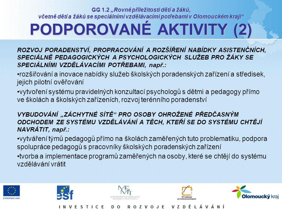 """GG 1.2 """"Rovné příležitosti dětí a žáků, včetně dětí a žáků se speciálními vzdělávacími potřebami v Olomouckém kraji"""" PODPOROVANÉ AKTIVITY (2) ROZVOJ P"""