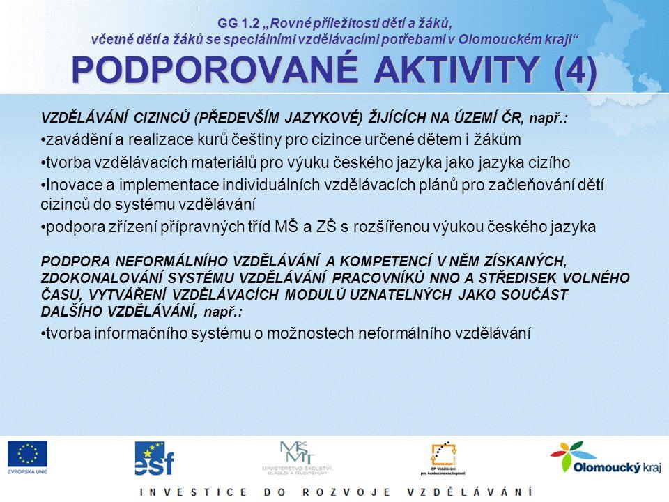 """GG 1.2 """"Rovné příležitosti dětí a žáků, včetně dětí a žáků se speciálními vzdělávacími potřebami v Olomouckém kraji"""" PODPOROVANÉ AKTIVITY (4) VZDĚLÁVÁ"""