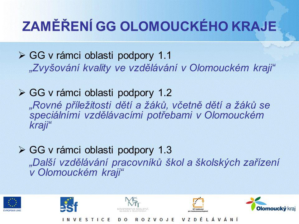 """ZAMĚŘENÍ GG OLOMOUCKÉHO KRAJE  GG v rámci oblasti podpory 1.1 """"Zvyšování kvality ve vzdělávání v Olomouckém kraji  GG v rámci oblasti podpory 1.2 """"Rovné příležitosti dětí a žáků, včetně dětí a žáků se speciálními vzdělávacími potřebami v Olomouckém kraji  GG v rámci oblasti podpory 1.3 """"Další vzdělávání pracovníků škol a školských zařízení v Olomouckém kraji"""