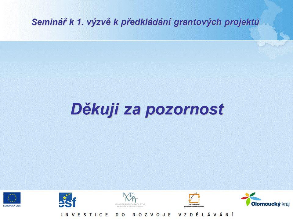 Děkuji za pozornost Seminář k 1. výzvě k předkládání grantových projektů