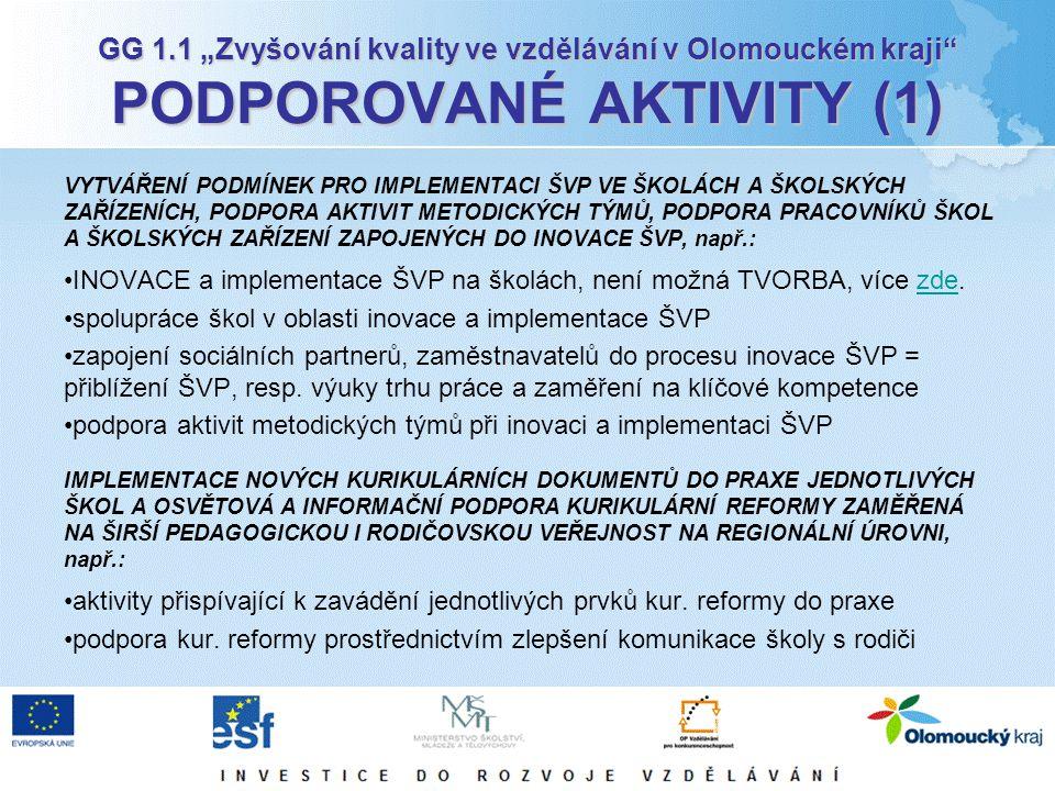 """GG 1.1 """"Zvyšování kvality ve vzdělávání v Olomouckém kraji PODPOROVANÉ AKTIVITY (1) VYTVÁŘENÍ PODMÍNEK PRO IMPLEMENTACI ŠVP VE ŠKOLÁCH A ŠKOLSKÝCH ZAŘÍZENÍCH, PODPORA AKTIVIT METODICKÝCH TÝMŮ, PODPORA PRACOVNÍKŮ ŠKOL A ŠKOLSKÝCH ZAŘÍZENÍ ZAPOJENÝCH DO INOVACE ŠVP, např.: INOVACE a implementace ŠVP na školách, není možná TVORBA, více zde.zde spolupráce škol v oblasti inovace a implementace ŠVP zapojení sociálních partnerů, zaměstnavatelů do procesu inovace ŠVP = přiblížení ŠVP, resp."""