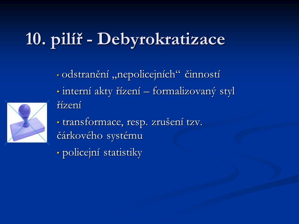 """10. pilíř - Debyrokratizace odstranění """"nepolicejních"""" činností odstranění """"nepolicejních"""" činností interní akty řízení – formalizovaný styl řízení in"""