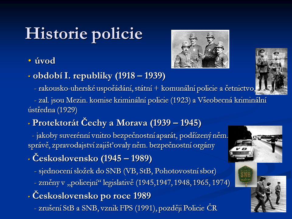 Historie policie úvod úvod období I. republiky (1918 – 1939) období I. republiky (1918 – 1939) - rakousko-uherské uspořádání, státní + komunální polic