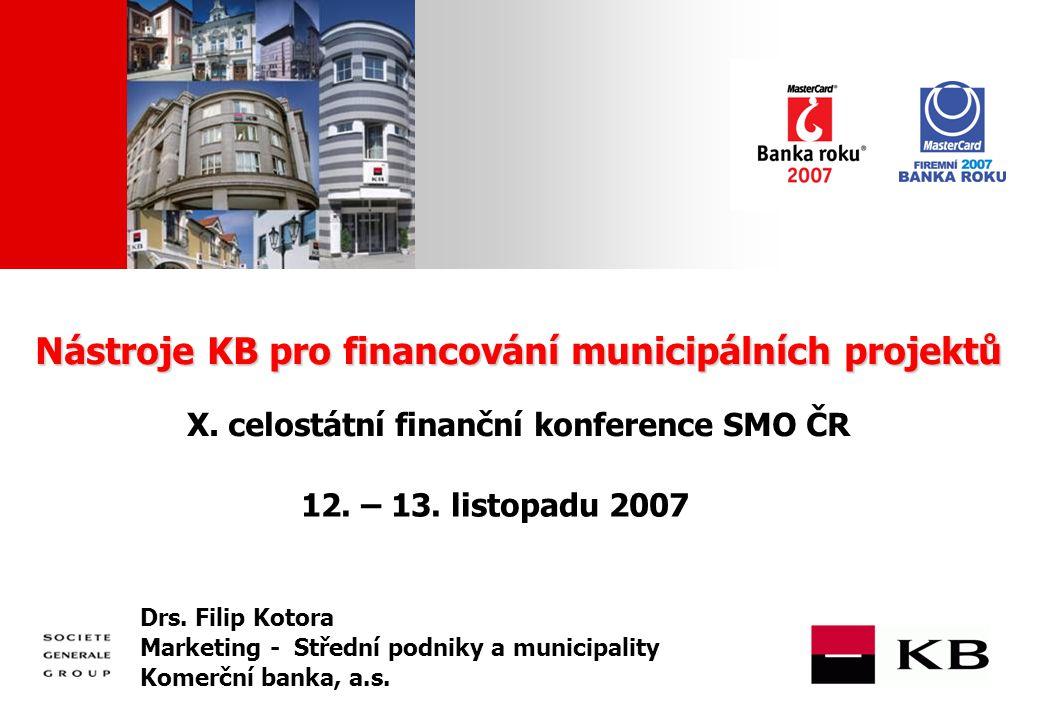 JJ Mois Année Nástroje KB pro financování municipálních projektů Nástroje KB pro financování municipálních projektů X.