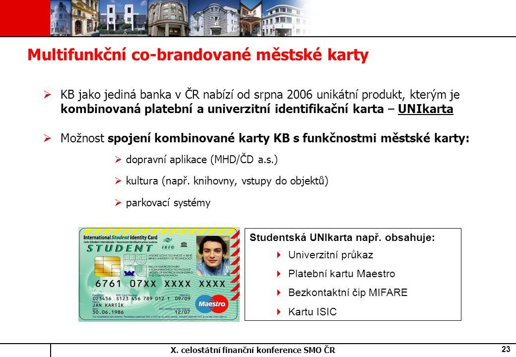 X. celostátní finanční konference SMO ČR 23  KB jako jediná banka v ČR nabízí od srpna 2006 unikátní produkt, kterým je kombinovaná platební a univer