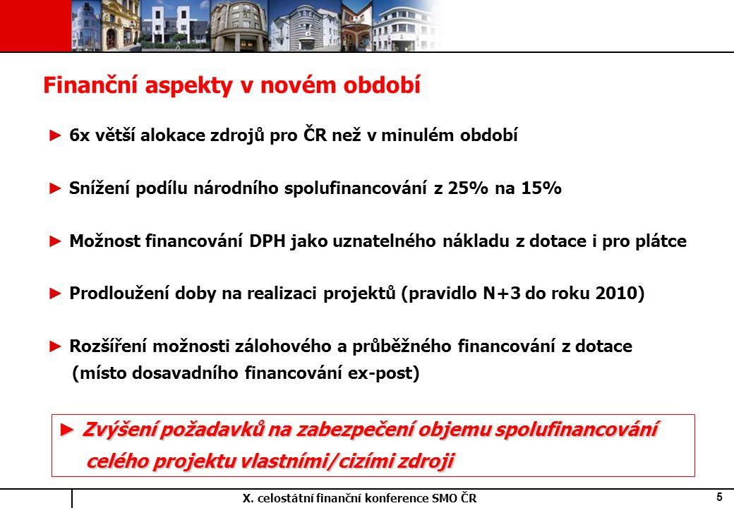 X. celostátní finanční konference SMO ČR 5 ► 6x větší alokace zdrojů pro ČR než v minulém období ► Snížení podílu národního spolufinancování z 25% na