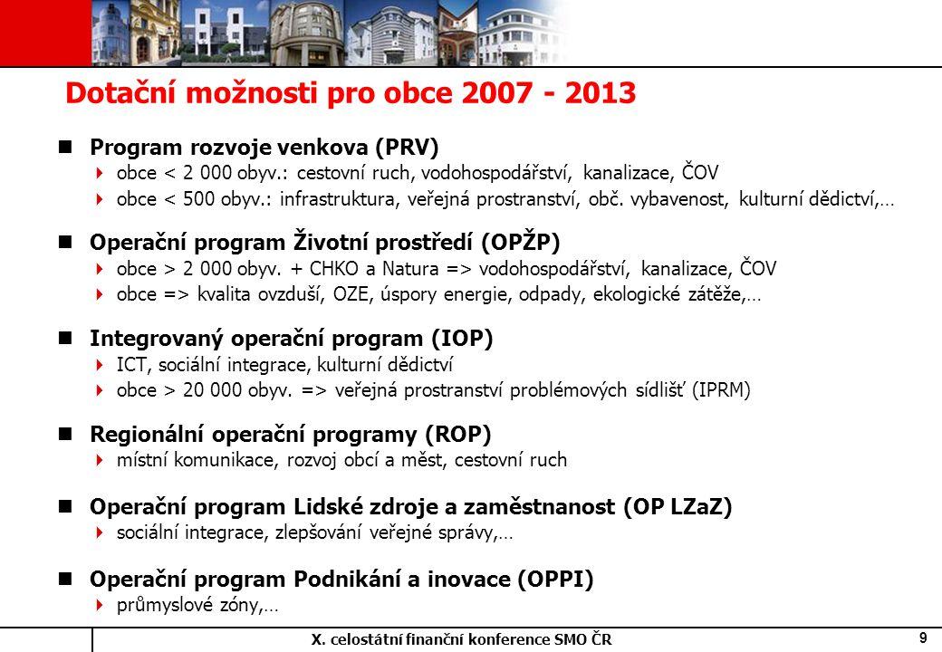 X. celostátní finanční konference SMO ČR 9 Dotační možnosti pro obce 2007 - 2013 Program rozvoje venkova (PRV)  obce < 2 000 obyv.: cestovní ruch, vo