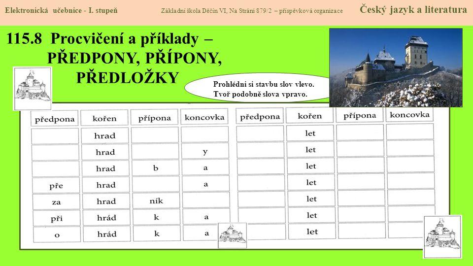115.8 Procvičení a příklady – PŘEDPONY, PŘÍPONY, PŘEDLOŽKY Elektronická učebnice - I.