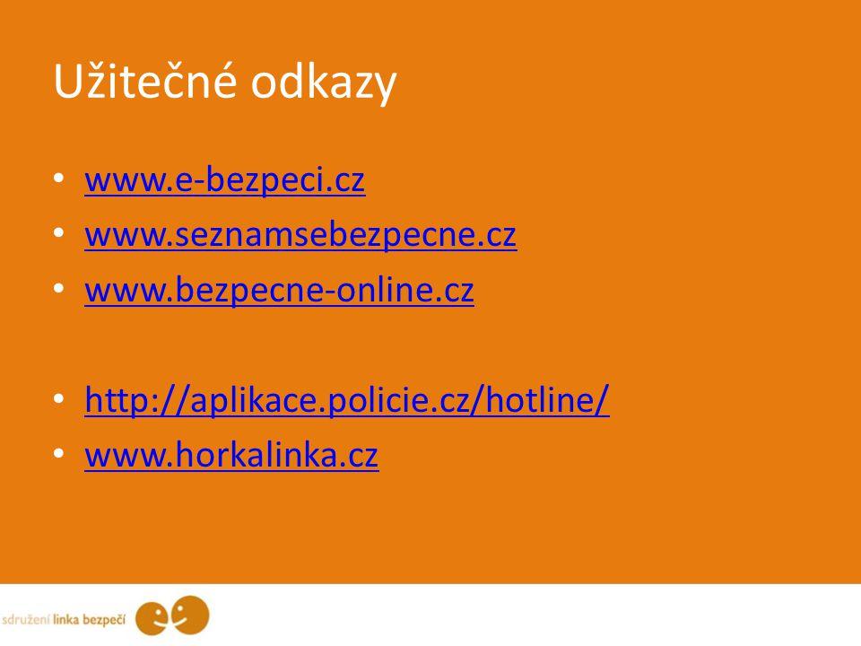 Užitečné odkazy www.e-bezpeci.cz www.seznamsebezpecne.cz www.bezpecne-online.cz http://aplikace.policie.cz/hotline/ www.horkalinka.cz