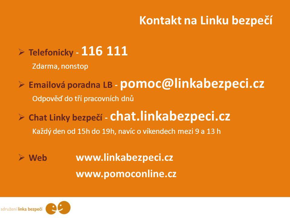 Kontakt na Linku bezpečí  Telefonicky - 116 111 Zdarma, nonstop  Emailová poradna LB - pomoc@linkabezpeci.cz Odpověď do tří pracovních dnů  Chat Li