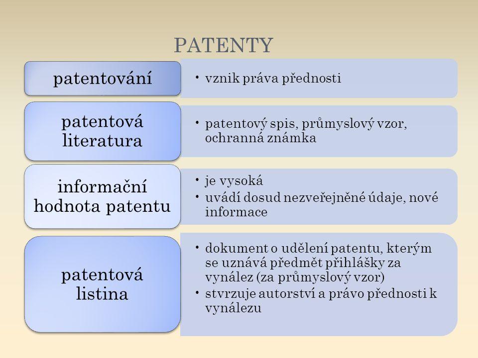 PATENTY vznik práva přednosti patentování patentový spis, průmyslový vzor, ochranná známka patentová literatura je vysoká uvádí dosud nezveřejněné úda