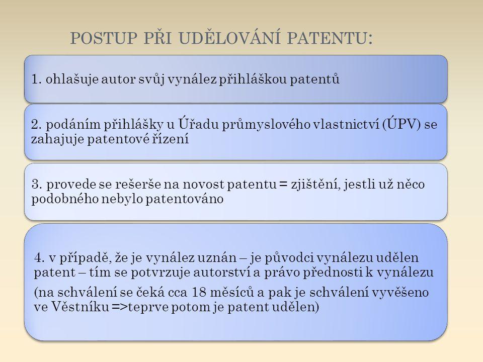 POSTUP PŘI UDĚLOVÁNÍ PATENTU : 1. ohlašuje autor svůj vynález přihláškou patentů 2. podáním přihlášky u Úřadu průmyslového vlastnictví (ÚPV) se zahaju