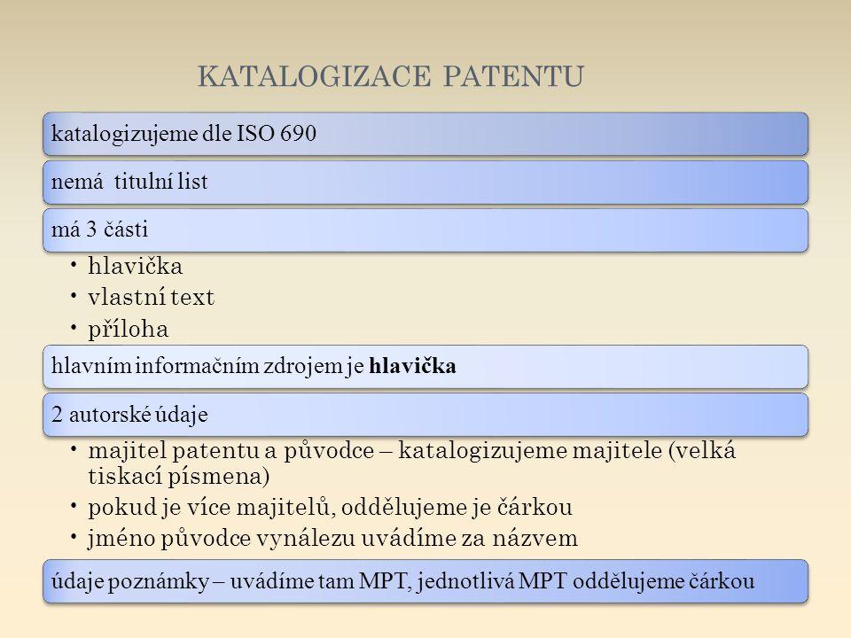 KATALOGIZACE PATENTU katalogizujeme dle ISO 690nemá titulní listmá 3 části hlavička vlastní text příloha hlavním informačním zdrojem je hlavička2 auto