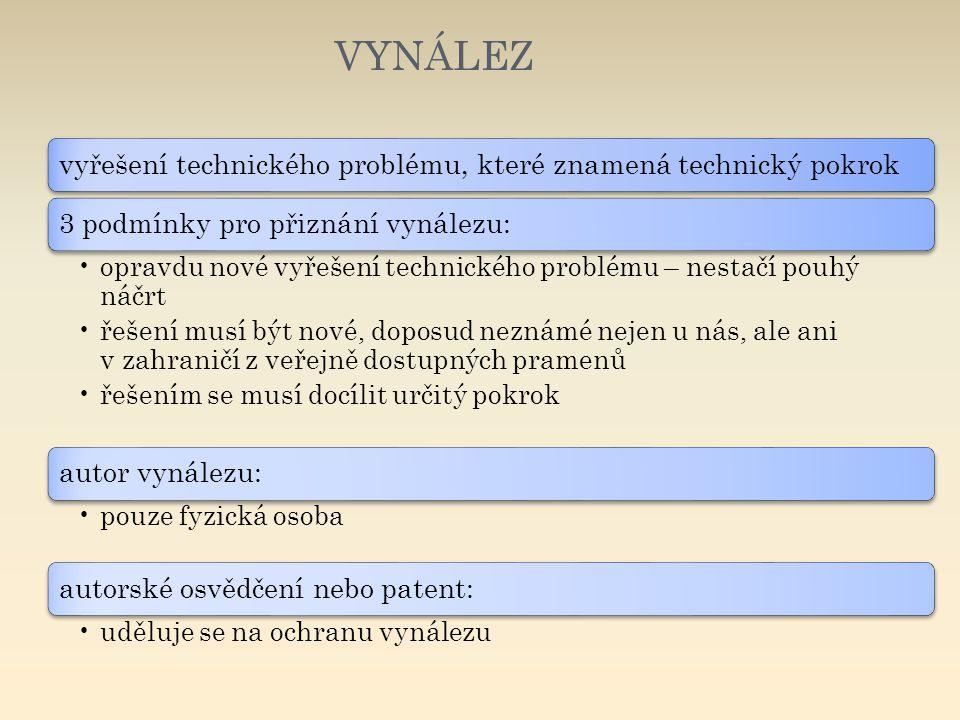 VYNÁLEZ vyřešení technického problému, které znamená technický pokrok3 podmínky pro přiznání vynálezu: opravdu nové vyřešení technického problému – ne