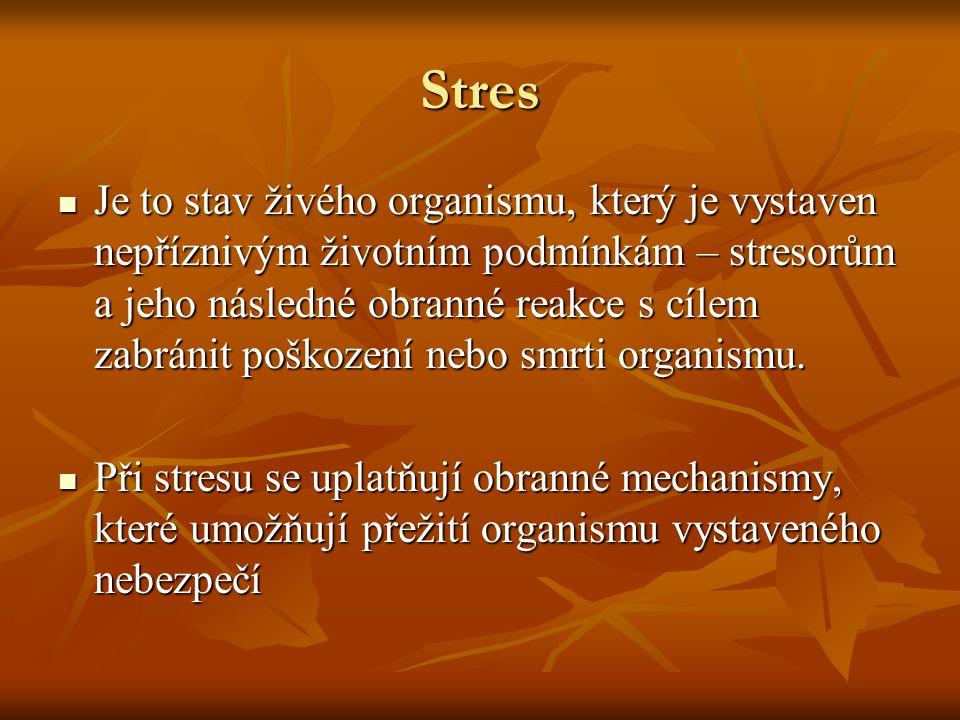 Stres Je to stav živého organismu, který je vystaven nepříznivým životním podmínkám – stresorům a jeho následné obranné reakce s cílem zabránit poškození nebo smrti organismu.
