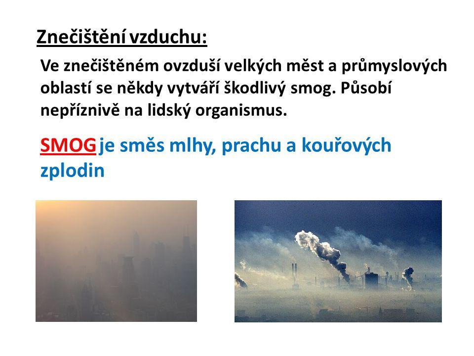 Zdroje znečištění: -teplárny -tepelné elektrárny -automobilová doprava