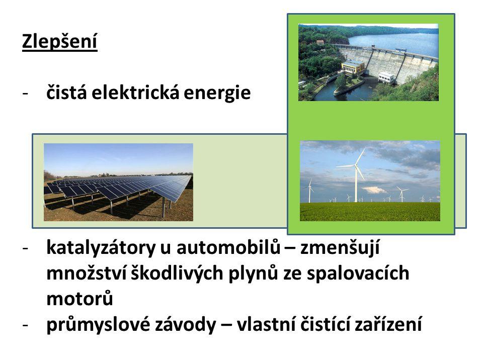 Zlepšení -čistá elektrická energie -katalyzátory u automobilů – zmenšují množství škodlivých plynů ze spalovacích motorů -průmyslové závody – vlastní