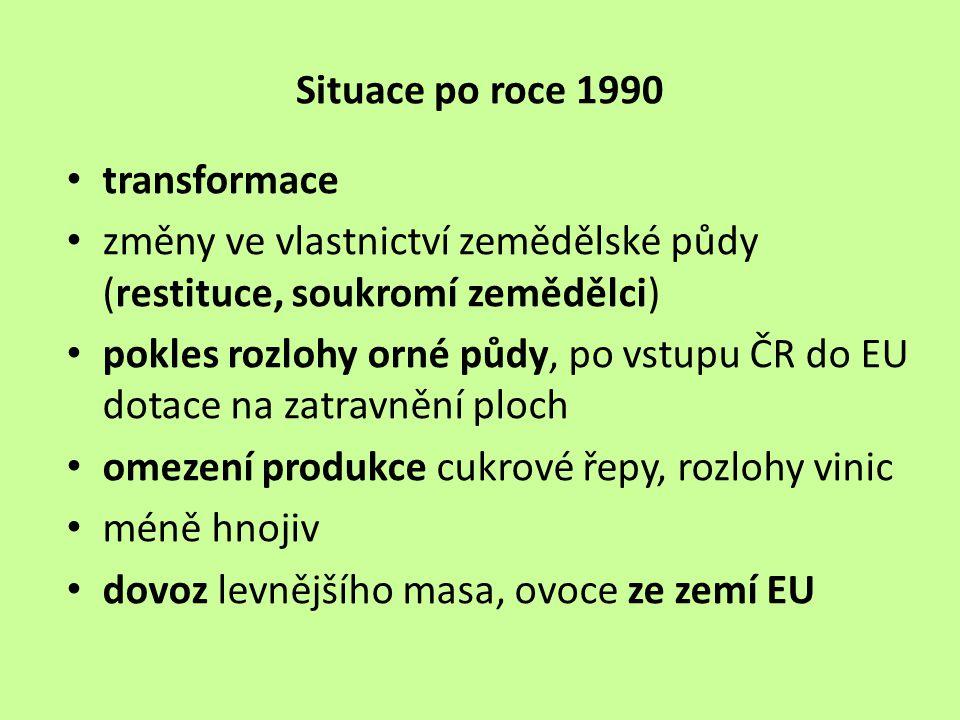 Situace po roce 1990 transformace změny ve vlastnictví zemědělské půdy (restituce, soukromí zemědělci) pokles rozlohy orné půdy, po vstupu ČR do EU do