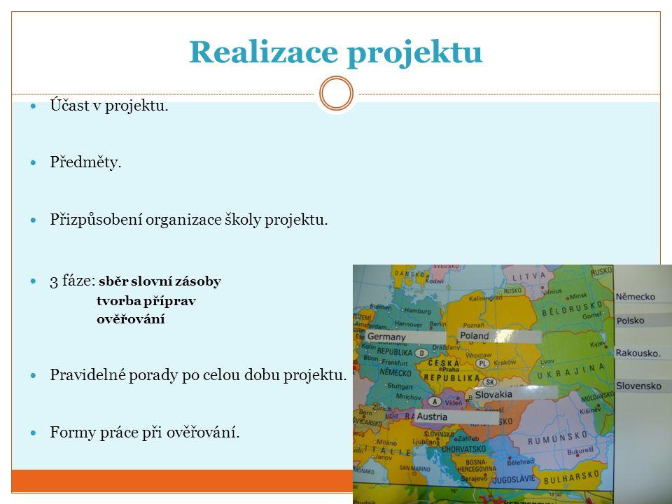 Realizace projektu Účast v projektu. Předměty. Přizpůsobení organizace školy projektu. 3 fáze: sběr slovní zásoby tvorba příprav ověřování Pravidelné