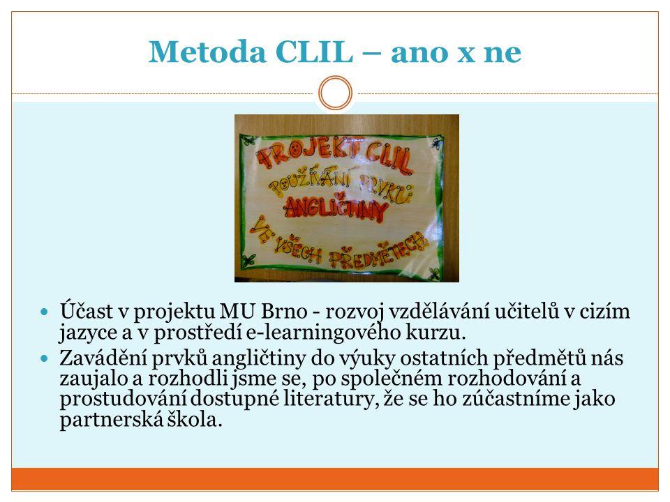 Metoda CLIL – ano x ne Účast v projektu MU Brno - rozvoj vzdělávání učitelů v cizím jazyce a v prostředí e-learningového kurzu.