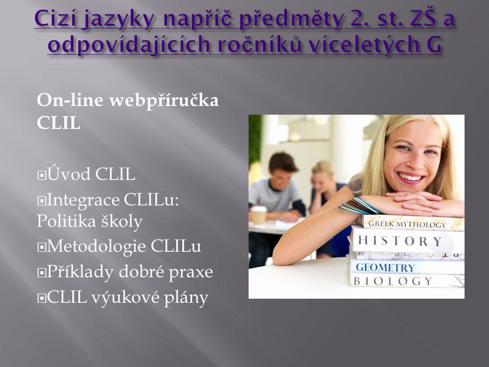 On-line webpříručka CLIL  Úvod CLIL  Integrace CLILu: Politika školy  Metodologie CLILu  Příklady dobré praxe  CLIL výukové plány