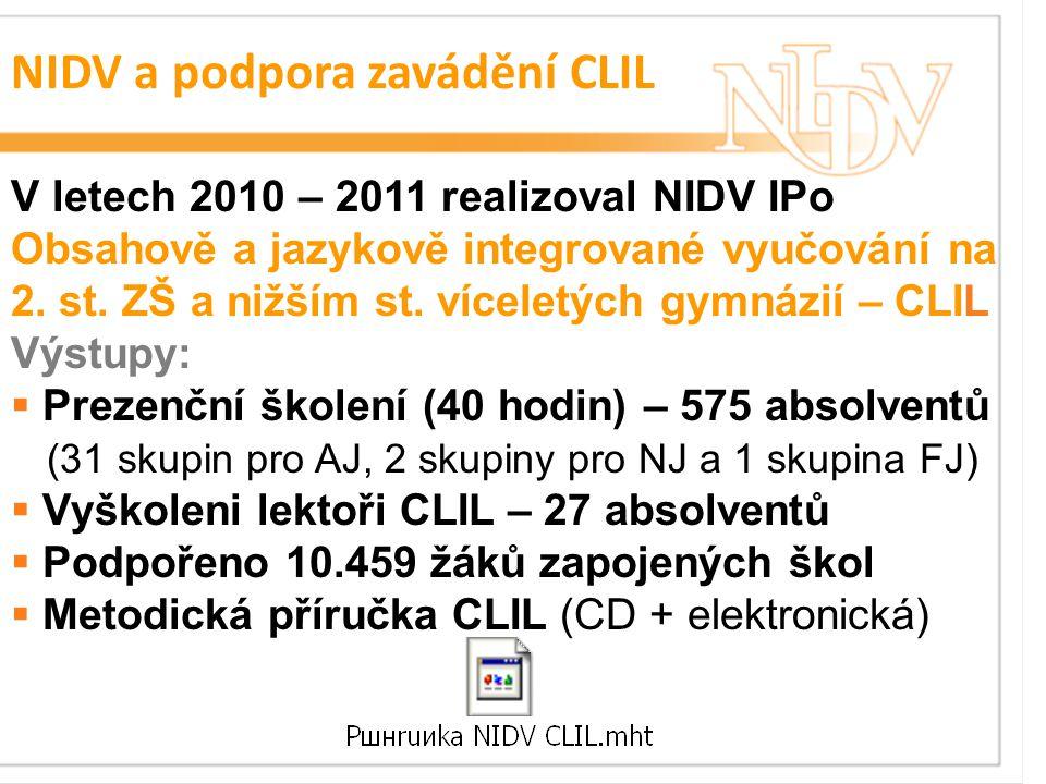 NIDV a podpora zavádění CLIL V letech 2010 – 2011 realizoval NIDV IPo Obsahově a jazykově integrované vyučování na 2.