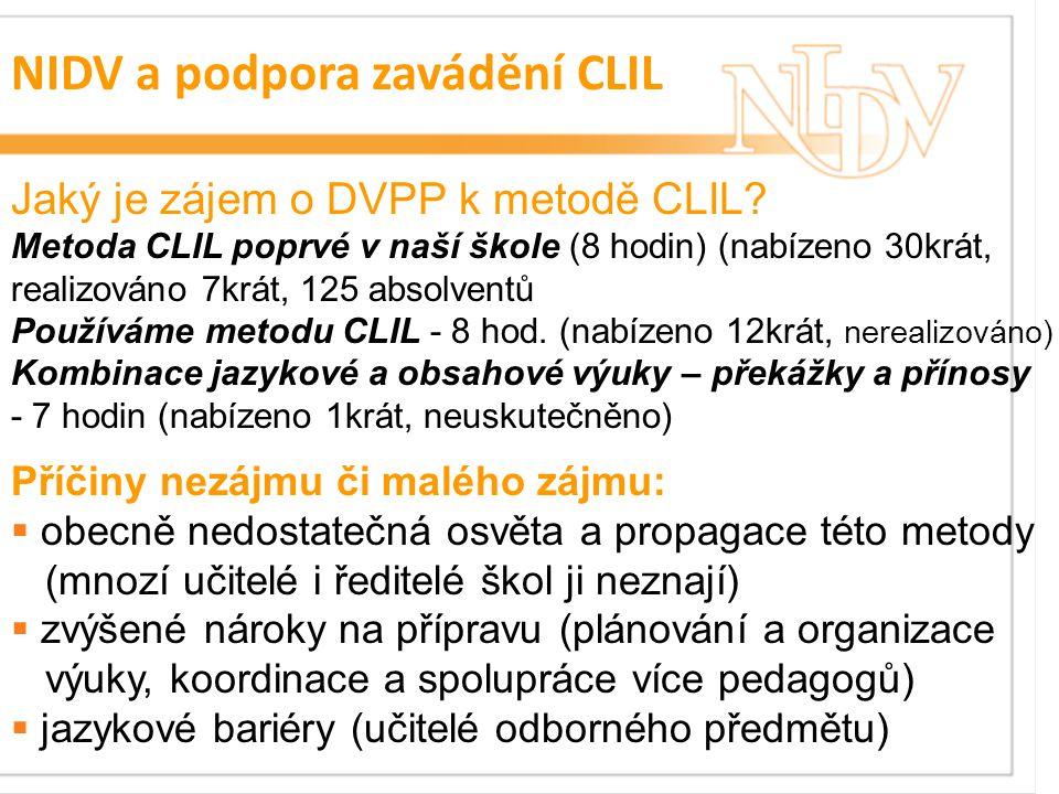 NIDV a podpora zavádění CLIL Jaký je zájem o DVPP k metodě CLIL.