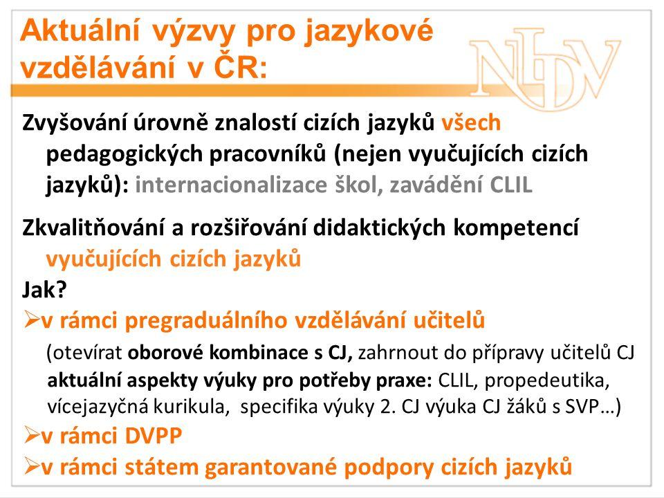 Aktuální výzvy pro jazykové vzdělávání v ČR: Zvyšování úrovně znalostí cizích jazyků všech pedagogických pracovníků (nejen vyučujících cizích jazyků): internacionalizace škol, zavádění CLIL Zkvalitňování a rozšiřování didaktických kompetencí vyučujících cizích jazyků Jak.