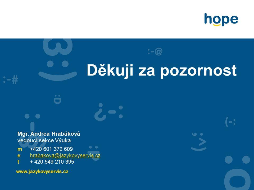 Děkuji za pozornost Mgr. Andrea Hrabáková vedoucí sekce Výuka m+420 601 372 609 ehrabakova@jazykovyservis.cz t+ 420 549 210 395