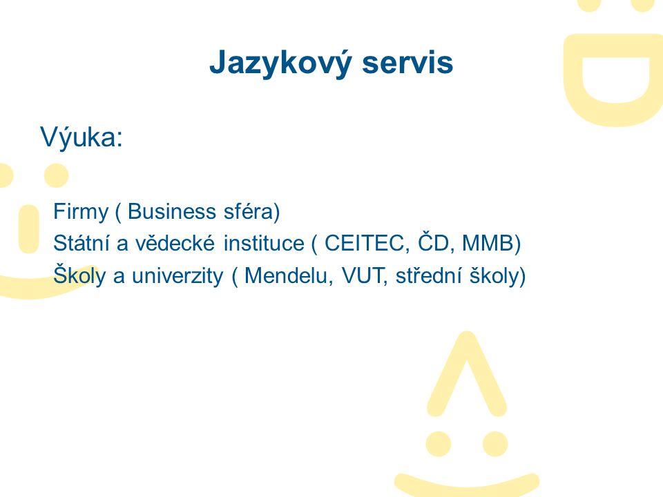 Jazykový servis Výuka: Firmy ( Business sféra) Státní a vědecké instituce ( CEITEC, ČD, MMB) Školy a univerzity ( Mendelu, VUT, střední školy)