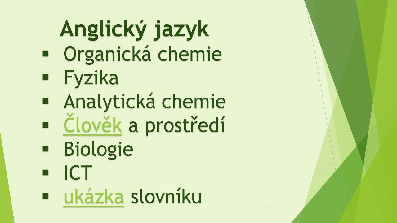 Anglický jazyk  Organická chemie  Fyzika  Analytická chemie  Člověk a prostředí Člověk  Biologie  ICT  ukázka slovníku ukázka