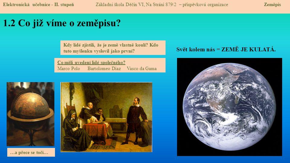 1.2 Co již víme o zeměpisu? Elektronická učebnice - II. stupeň Základní škola Děčín VI, Na Stráni 879/2 – příspěvková organizace Zeměpis Svět kolem ná