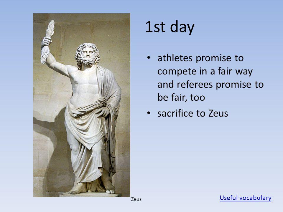Disciplines - pentathlon pentathlon: discus throw, javelin throw, running (one stadion), wrestling, long jump Useful vocabulary discus javelin