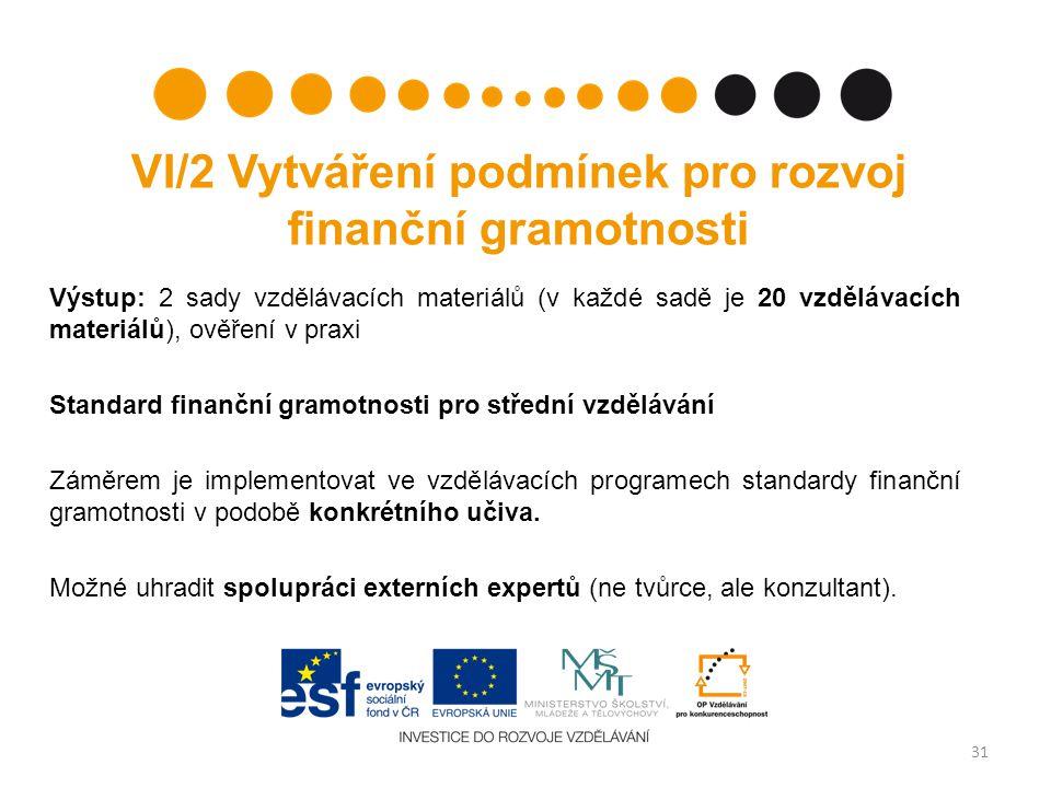 VI/2 Vytváření podmínek pro rozvoj finanční gramotnosti Výstup: 2 sady vzdělávacích materiálů (v každé sadě je 20 vzdělávacích materiálů), ověření v praxi Standard finanční gramotnosti pro střední vzdělávání Záměrem je implementovat ve vzdělávacích programech standardy finanční gramotnosti v podobě konkrétního učiva.
