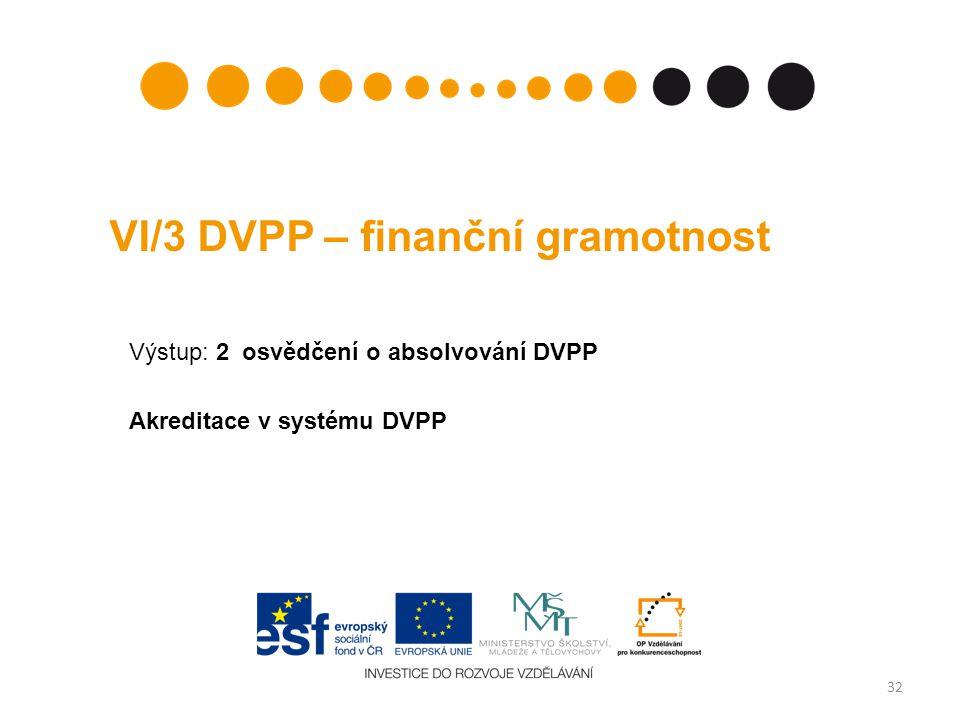 VI/3 DVPP – finanční gramotnost Výstup: 2 osvědčení o absolvování DVPP Akreditace v systému DVPP 32