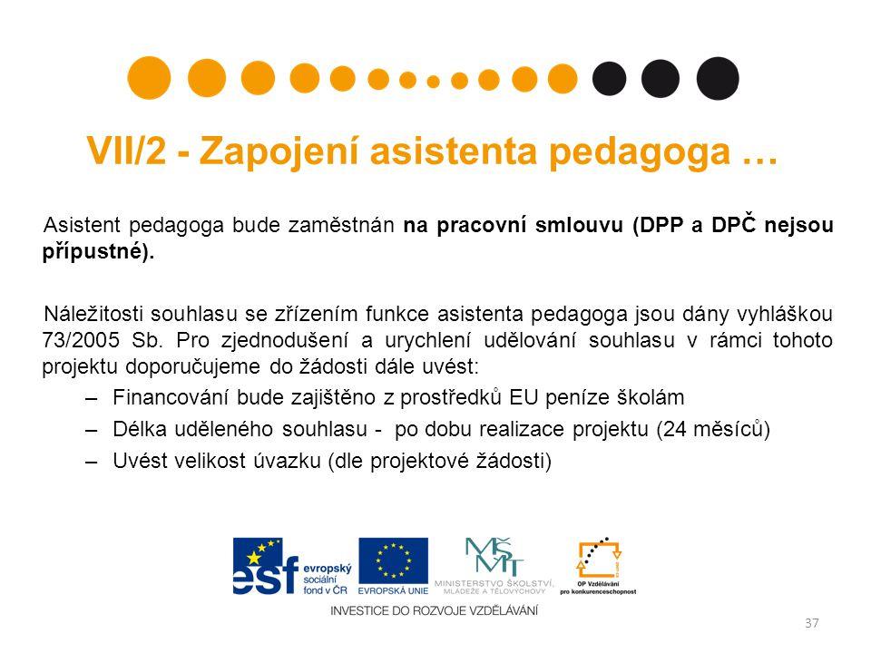 VII/2 - Zapojení asistenta pedagoga … Asistent pedagoga bude zaměstnán na pracovní smlouvu (DPP a DPČ nejsou přípustné).