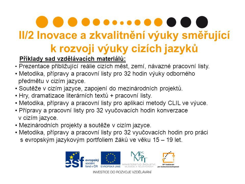 II/2 Inovace a zkvalitnění výuky směřující k rozvoji výuky cizích jazyků Příklady sad vzdělávacích materiálů: Prezentace přibližující reálie cizích měst, zemí, návazné pracovní listy.