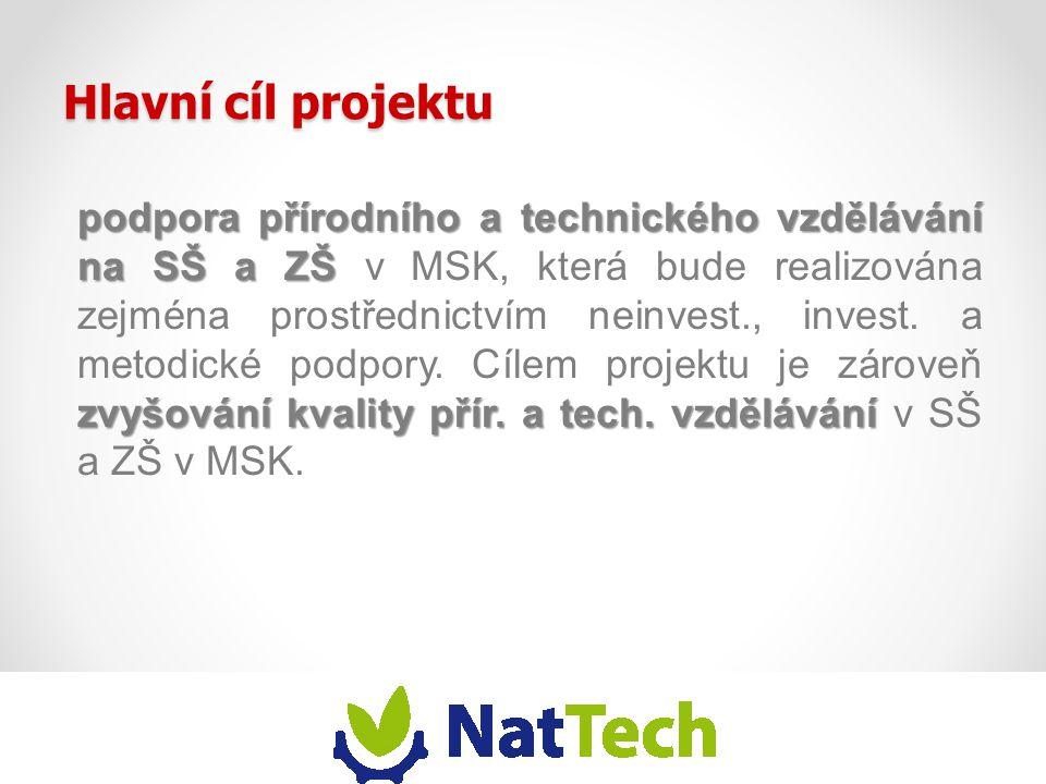 Hlavní cíl projektu podpora přírodního a technického vzdělávání na SŠ a ZŠ zvyšování kvality přír. a tech. vzdělávání podpora přírodního a technického