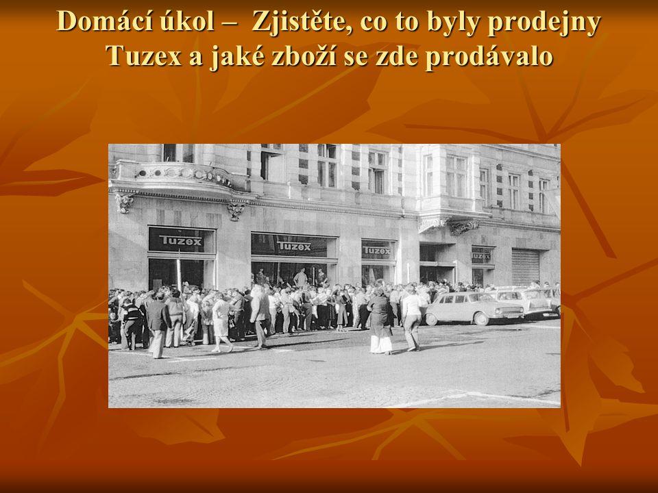 Řešení úkolu Společnost Tuzex vznikla v roce 1957, jejím předchůdcem byla společnost Darex ( vznikla v roce 1949) Společnost Tuzex vznikla v roce 1957, jejím předchůdcem byla společnost Darex ( vznikla v roce 1949) Název Tuzex byl zkratkou ze slov tuzemský export.