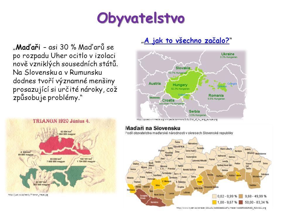 """Obyvatelstvo """"Maďaři – asi 30 % Maďarů se po rozpadu Uher ocitlo v izolaci nově vzniklých sousedních států."""