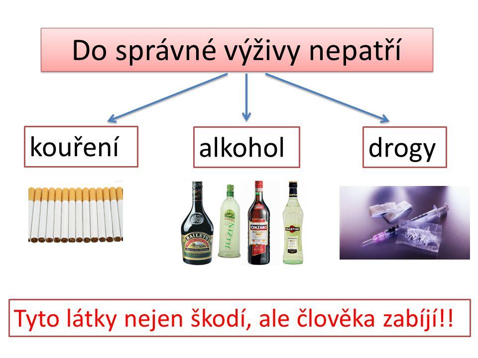 Do správné výživy nepatří kouření alkoholdrogy Tyto látky nejen škodí, ale člověka zabíjí!!