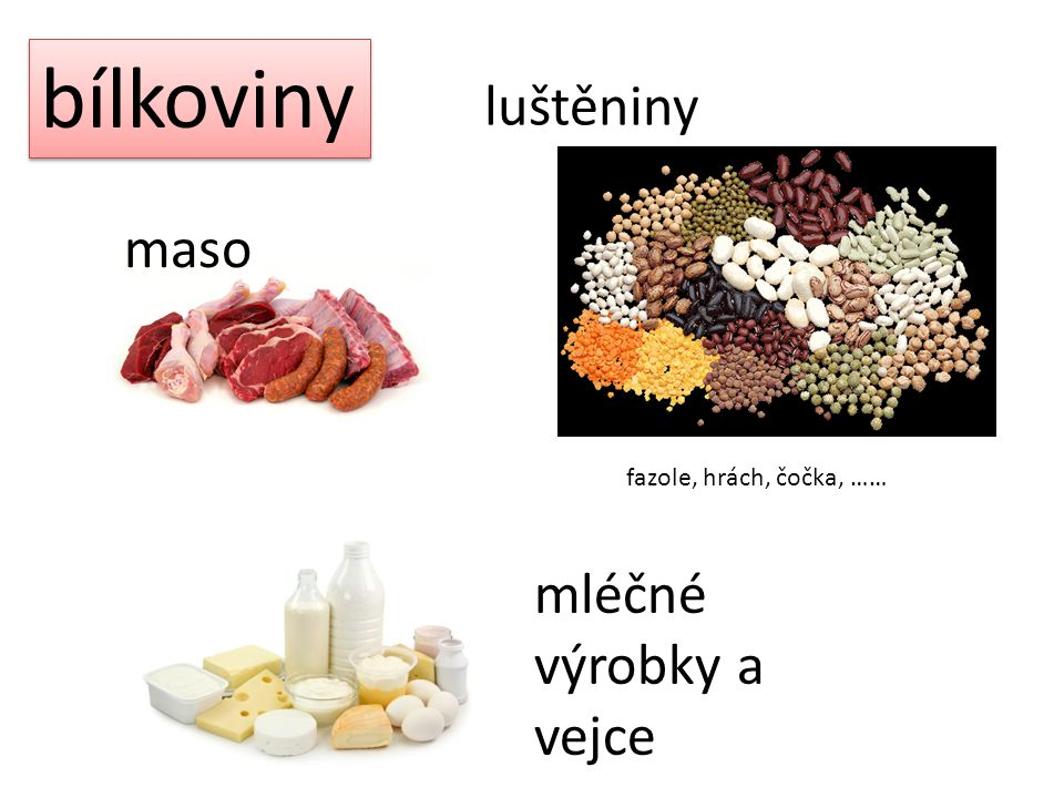 bílkoviny luštěniny fazole, hrách, čočka, …… maso mléčné výrobky a vejce