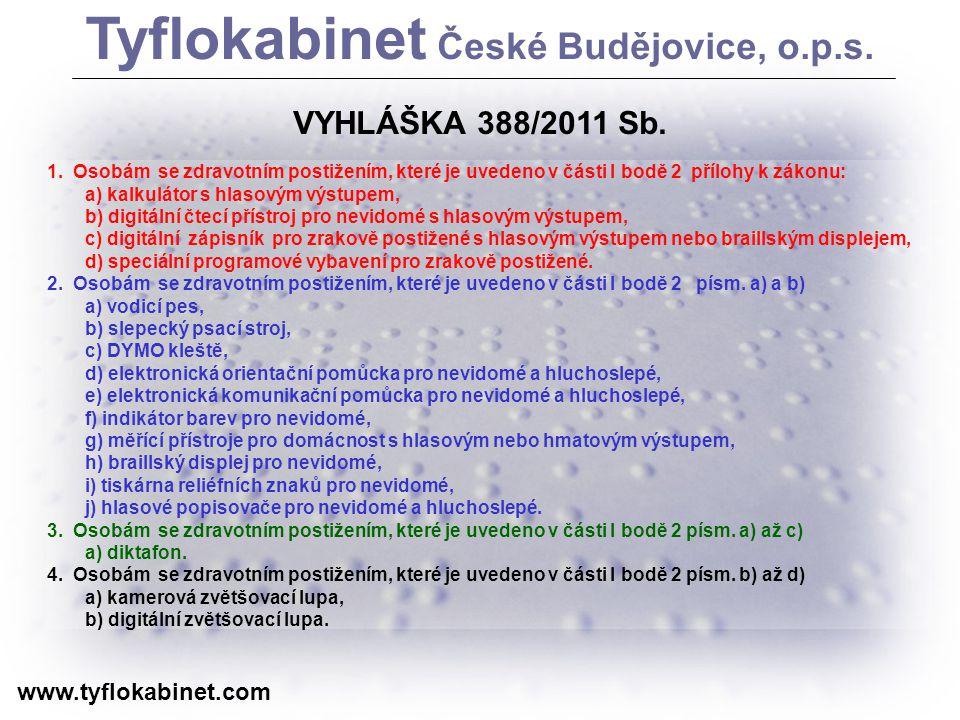 Děkuji za pozornost www.tyflokabinet.com Tyflokabinet České Budějovice, o.p.s.