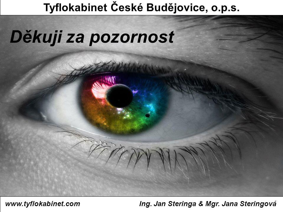 Děkuji za pozornost www.tyflokabinet.com Tyflokabinet České Budějovice, o.p.s. Ing. Jan Steringa & Mgr. Jana Steringová