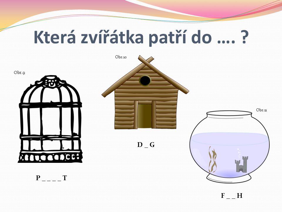 Která zvířátka patří do …. ? P _ _ _ _ T D _ G Obr.9 Obr.10 Obr.11 F _ _ H