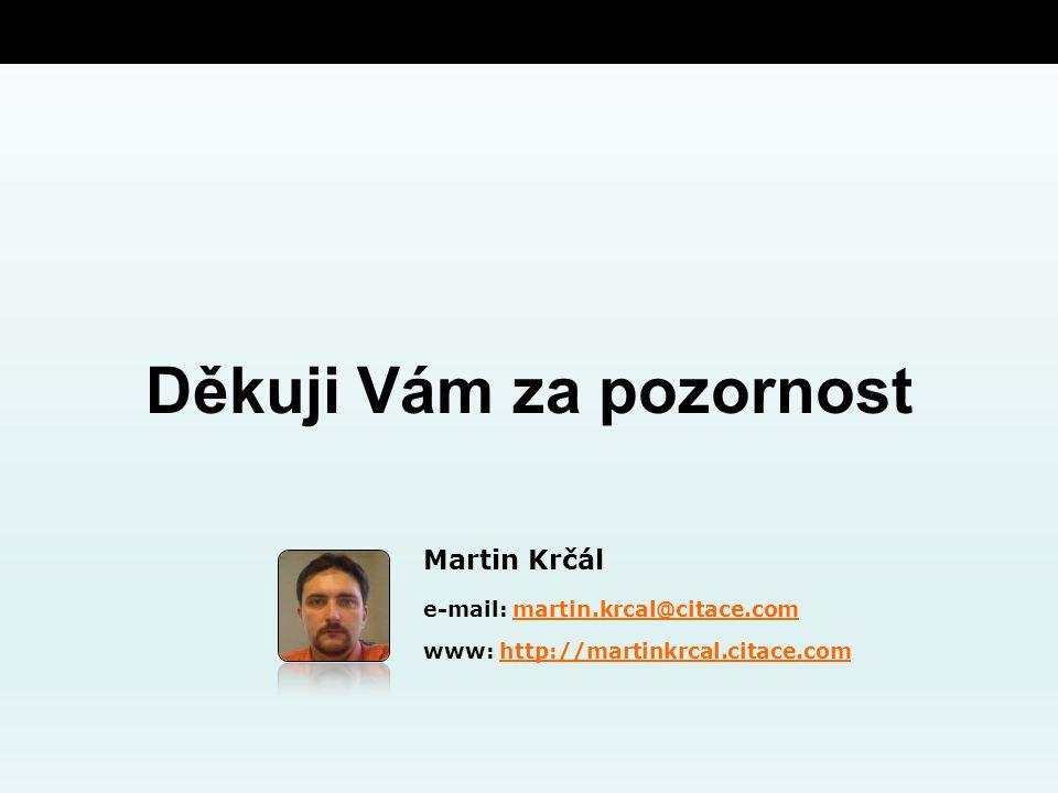 Děkuji Vám za pozornost Martin Krčál e-mail: martin.krcal@citace.commartin.krcal@citace.com www: http://martinkrcal.citace.comhttp://martinkrcal.citace.com