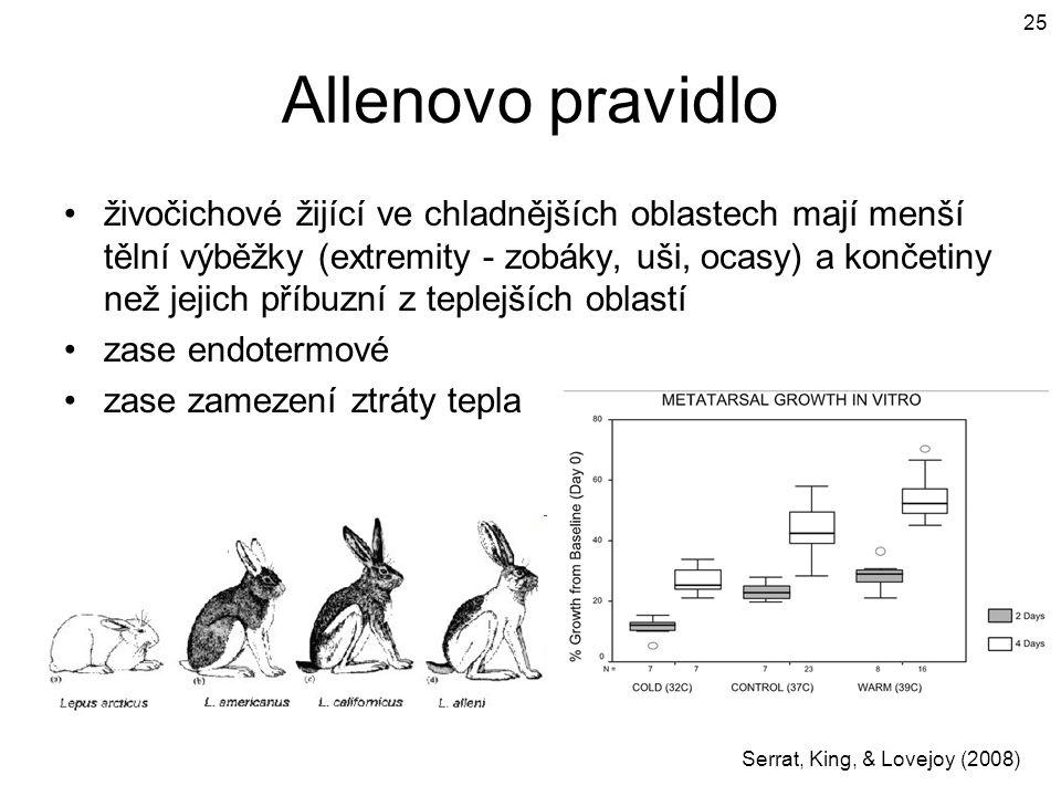 Allenovo pravidlo živočichové žijící ve chladnějších oblastech mají menší tělní výběžky (extremity - zobáky, uši, ocasy) a končetiny než jejich příbuz
