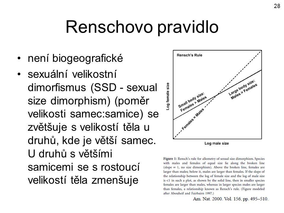Renschovo pravidlo není biogeografické sexuální velikostní dimorfismus (SSD - sexual size dimorphism) (poměr velikosti samec:samice) se zvětšuje s vel