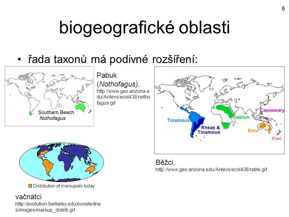 biogeografické oblasti řada taxonů má podivné rozšíření: Pabuk (Nothofagus). http://www.geo.arizona.e du/Antevs/ecol438/notho fagus.gif Běžci. http://
